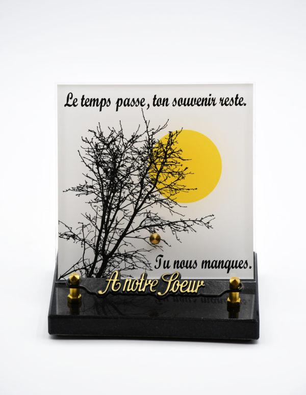 Pompes Funèbres Grosso : plaque funéraire avec un arbre