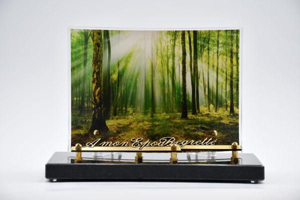 Pompes Funèbres Grosso : plaque funéraire galbe avec une photo de forêt