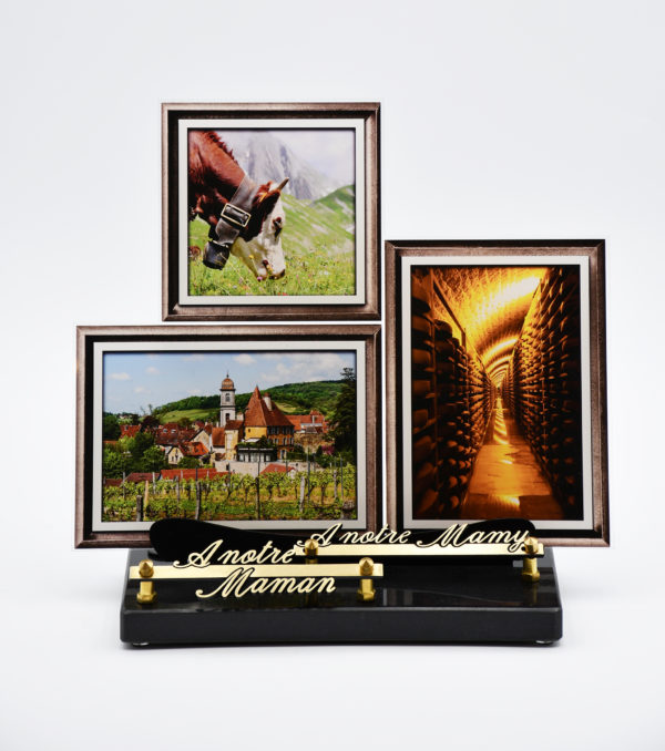 Pompes Funèbres Grosso : plaque funéraire avec 3 photos