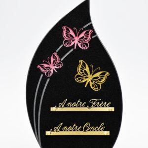 Pompes Funèbres Grosso : plaque funéraire en granit avec des papillons