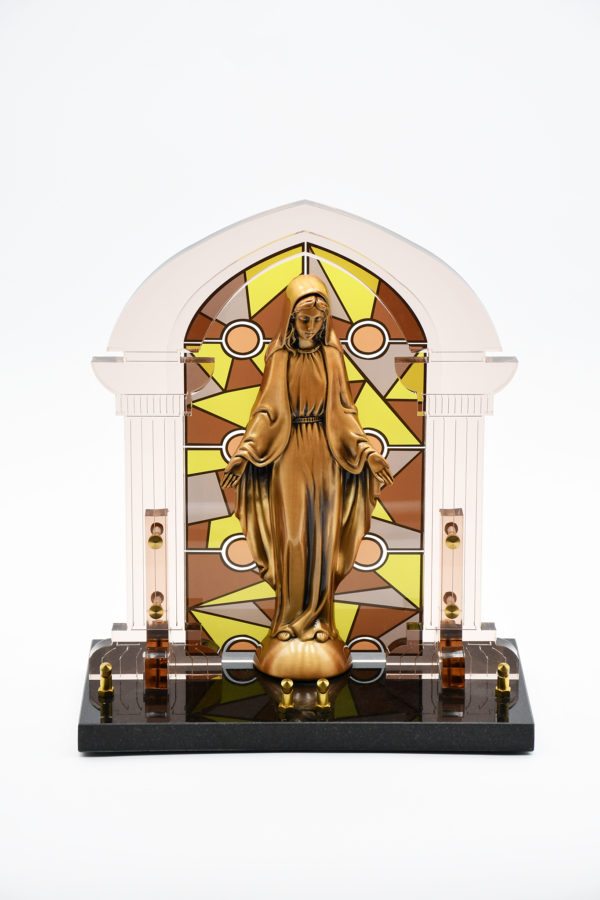 Pompes Funèbres Grosso : plaque funéraire avec une statut de la Vierge