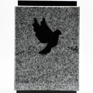 Pompes Funèbres Grosso : urne funéraire en granit avec une colombe